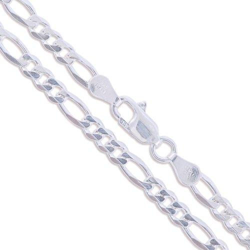 Sterling Argento Diamante Figaro catena collana Italia 925massiccio, 3,9mm, Argento, colore: Silver, cod. 2358-28
