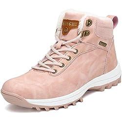 Pastaza Hombre Mujer Botas de Nieve Senderismo Impermeables Deportes Trekking Zapatos Invierno Forro Piel Sneakers Rosa,39EU