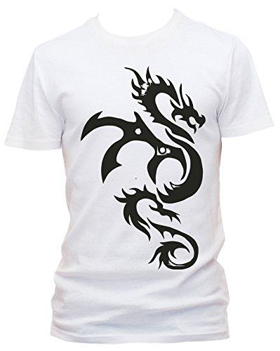 J.Roxx Drache Tribal Fun Herren T-Shirt, Größe:XL;Farbe:weiss