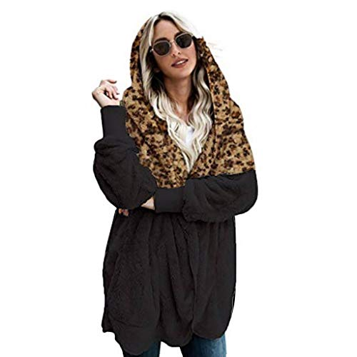 TAOtTAO - Giubbotto Lungo da Donna, Modello Winer Plus Size, Caldo Leopardato Nero S