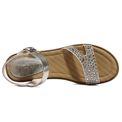 Modische Bequeme Sommer Damen Kühle Sandalen Dicke Sohle Keilabsatz Einfache Slip-on Kreuzband mit Strass Metallfarbe Riemenschnalle Gold