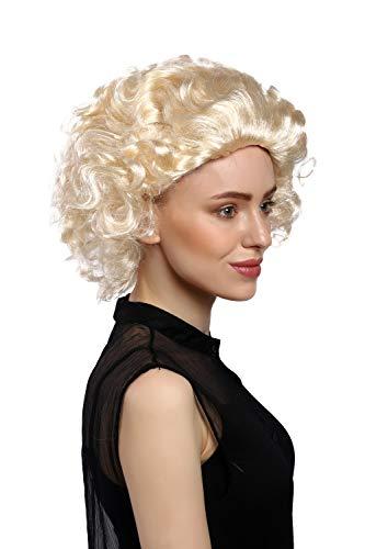 88 Perücke Damen Karneval Halloween Blond Kurz Locken Filmstar Diva Movie Star ()