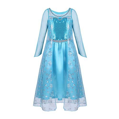 CHICTRY Prinzessin Kostüm Kinder Glanz Kleid Mädchen Festzug Kleid EIS-Prinzessin Kleid Fastnacht Party Halloween Karneval Fotoshooting A Himmelblau Langarm 122-128/7-8Jahre