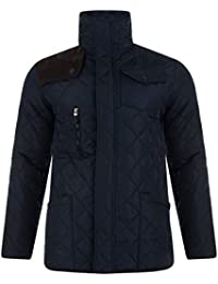 Mens Jacket Soulstar Diamond Quilted Padded Cord Patch Funnel Neck Hunter Coat