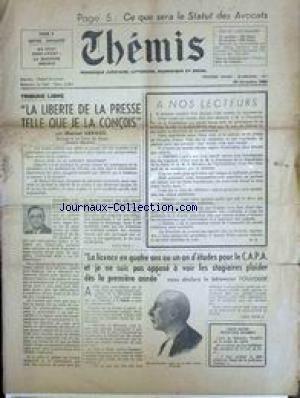 THEMIS [No 1] du 30/12/1950 - LIBERTE DE LA PRESSE - MARCEL HERAUD - LE BATONNIER TOULOUSE.