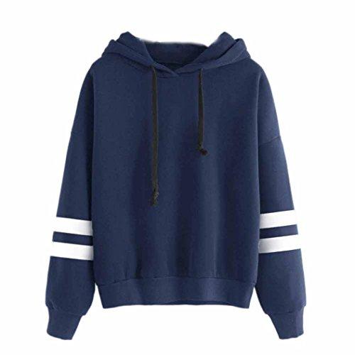 Keepwin Damen Hoodie Kapuzenpullis, Frauen Langarm Kapuzenpulli Sweatshirt Pullover Tops Kapuzen Bluse (S, Blau) - Hoodie Frauen Blau
