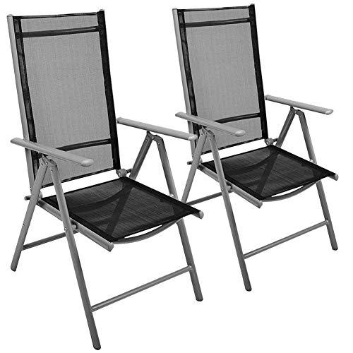 Bakaji set 2 sedie pieghevoli struttura in alluminio schienale reclinabile in 5 posizioni con braccioli e rivestimento texilene per campeggio spiaggia giardino colore grigio e nero