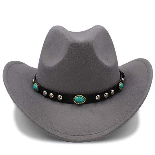 Breiter Sonnenhut, Cowboy-Hut-Jazz-Hut-Ankunfts-Mode CowboyHat für Frauen-Partei-Kostüme Cowgirl Rollen Oben Hut-Hut Für Frauen (Farbe : Grau, Größe : 57-58 cm)