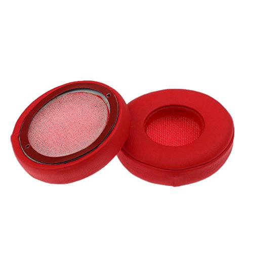 MagiDeal 1 Paar Ersatz Ohrpolster aus Schaumstoff und Kunstleder Ohrkissen für Beats EP On-Ear Kopfhörer - Rot