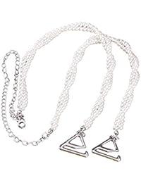 OULII Bra Straps removible de doble capa de perlas titular de la correa de reemplazo no deslizamiento Decoración Vestido
