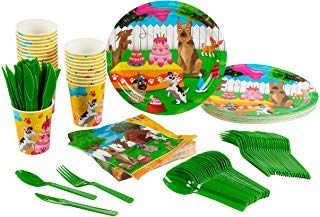 Vajilla desechable de Animal Party Supplies, con cubiertos...