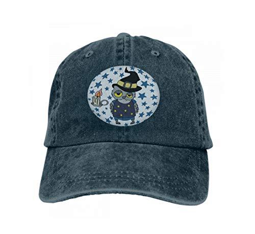 Unisex Baseball Cap Trucker Hat Adult Cowboy Hat Hip Hop Snapback Halloween owl Set Day Dead Night Sky Creative Navy