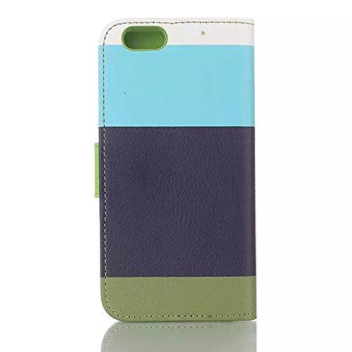 """inShang Hülle für Apple iphone 6 4.7 inch iPhone6 4.7"""", Edles PU Leder Tasche Hülle Skins Etui Schutzhülle Ständer Smart Case Cover für iphone 6 Cell Phone, Handy , Zubehör + inShang Logo hochwertigen Rainbow blue+navyblue+green"""