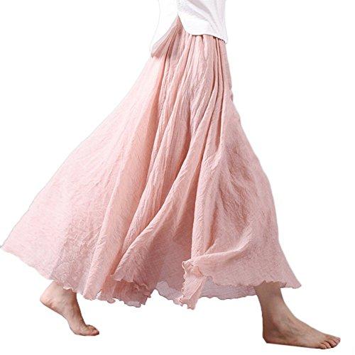 ETOSELL Femmes D'ete Boho Taille Haute Plissee Jupe Rose