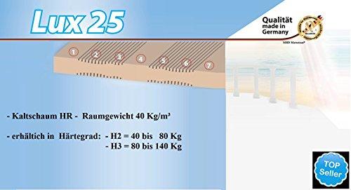 LUX 25 - Orthopädische 7 Zonen Kaltschaum Matratze - Höhe ca. 25 cm - Raumgewicht 40 Kg/m³ (140 x 200 cm - H3, Bezug: New Welle) -