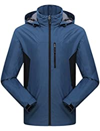 Zhhlinyuan Adult Outdoor Hooded Casual Outwear Mens Solid color Deportes Quick-dry Jacket