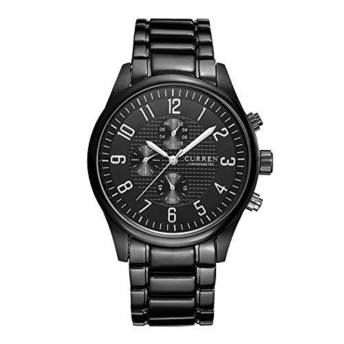 Herrenuhren Einzigartig Dekoratives Sub-Dial Chronograph Quarzwerk Armbanduhren für Herren Edelstahlband Klassisch, Schwarz