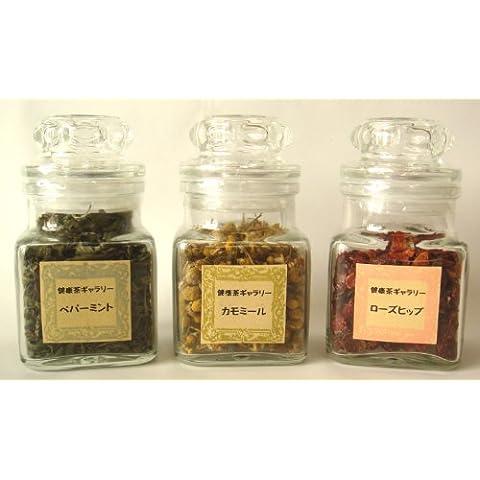 [Regalo saludo verano verano saludo de finales de verano] t? de hierbas tres sets (menta, manzanilla, rosa mosqueta) frasco que