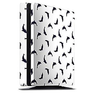 Skin kompatibel mit Sony Playstation 4 Slim Aufkleber Folie Sticker Delphin Muster Delfin Delfine Dolphine