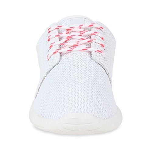 Damen Herren Sneaker Sportschuhe schwarz Turnschuhe Runners mit Blumen Print in mehreren Farben Weiss Weiss