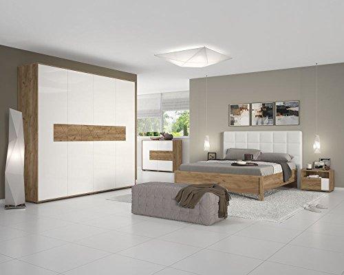 Schlafzimmer Komplett – Set A Manase, 5-teilig, Farbe: Eiche Braun/Weiß Hochglanz