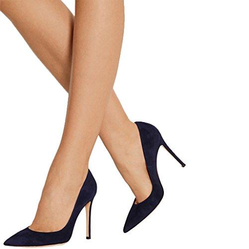 SHOFOO - Femmes - Stiletto - Plusieurs coloris- Cuir de daim synthétique - Talon aiguille - Bout pointu fermé Bleu foncé
