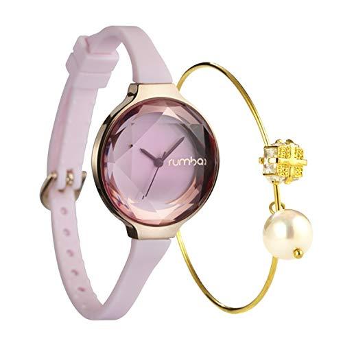 Montre pour Femme avec Mini montre à Quartz et cadran Rose pâle + plaqué or  18k, Rose Clair + galvanoplastie or 18k