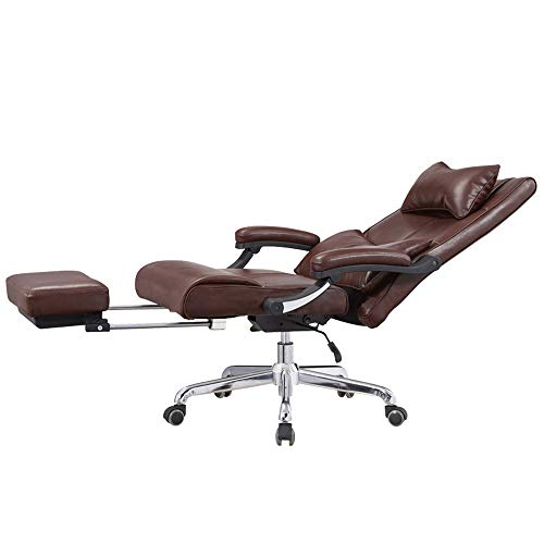 EAHKGmh Ergonomischer Bürostuhl Mittagspausenstuhl mit Pedal Braunes Leder Art High-Back Executive Bürodrehstuhl Kopfstütze Computertisch Gaming Chair
