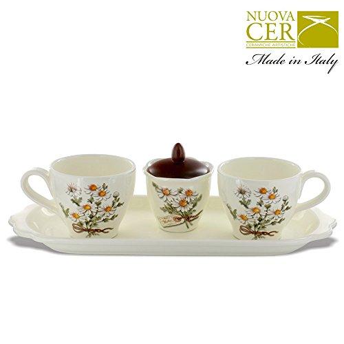 Set de 2 à thé en porcelaine Coupe + Bol + plateau sucre pour le petit déjeuner - Botanique Collection