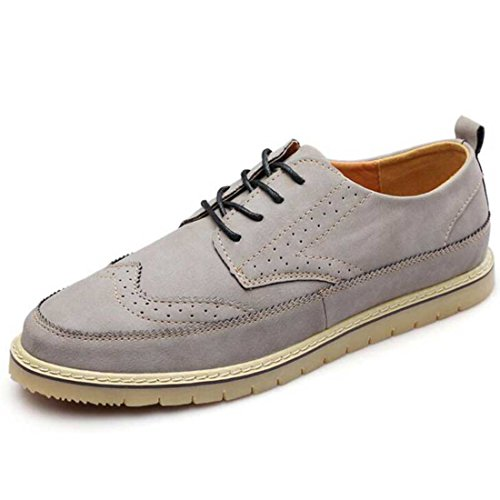 Men's British Style Split Leather Lace Up Casual Shoes Grey