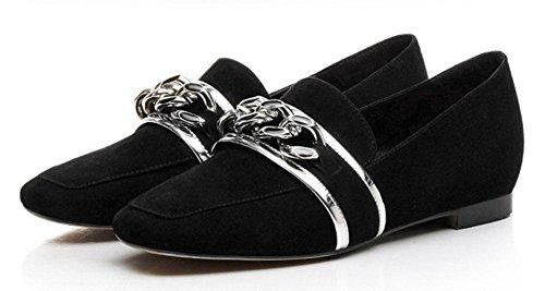 SHIXR Femmes Chaussures Court Printemps Nouvelles Chaussures En Cuir Chaussures Décontractées Bas-Talons Chaussures Carrées Chaussures Occasionnels Chaussures noir