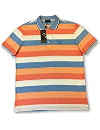 PAUL & SHARK Yachting Polo in Orange/Blue/White Stripe Size M Cotton