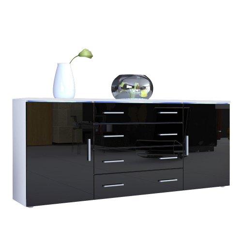 Vladon Buffet Dressoir Faro V2, Corps en Blanc mat/Façades en Noir haute brillance