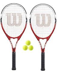 WILSON Federer Lot de 2 Raquettes de Tennis pour Adulte + 3 balles de Tennis