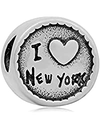 Andante-Stones &apos Plata Bead I love New York Ich liebe New York–Bola Element Para European Beads + Traumhandel