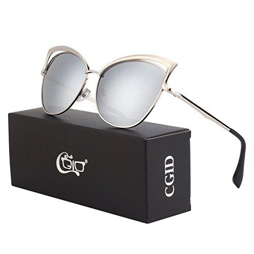 da6ed0ef98 CGID Women s Modern Fashion Mirror Polarized Cateye Sunglasses Goggles UV400