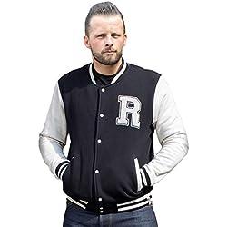 RUMBLE59 Chaqueta Chico beisbolera Negro Sweat College Jacket RUM460 (XL)