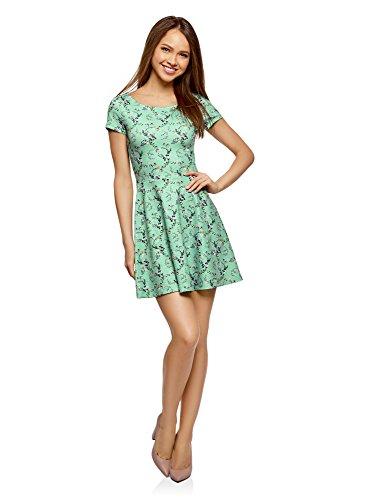 oodji Ultra Damen Tailliertes Kleid mit V-Ausschnitt am Rücken, Grün, DE 36 / EU 38 / S