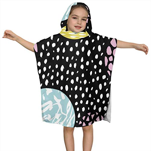 BigHappyShop Baby's Cute Hooded Bath Beach Towel Circles Dots Spots Raw Abstract Brush Strokes Color Ultra Soft Quick Drying Super Soft Single Ply 100% Organic Cotton