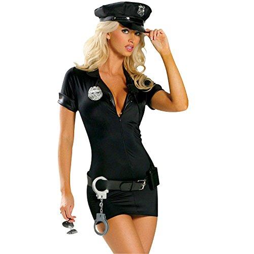 Frauen Sexy Polizistin Uniform mit Kleid Kappe Abzeichen Gürtel Handschellen für Halloween Cosplay Party Schwarz Größe 2XL von Discoball® (Halloween Handschellen)