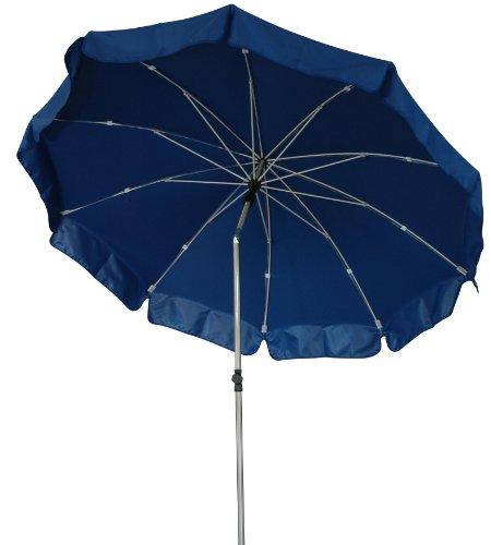 Zangenberg Sonnenschirm Fiberglasschirm Windbreaker Sylt, blau, 250x250 cm rund, Gestell Stahl/Fiberglas, Bespannung Polyester, 3.8 kg