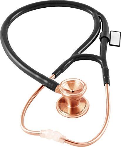MDF® Classic Cardiology - Klassisches Kardiologie-Zweikopf-Stethoskop - mit Bruststück und Kopfteil aus rostfreiem Stahl - Roségold/Schwarz (MDF797RG-11)