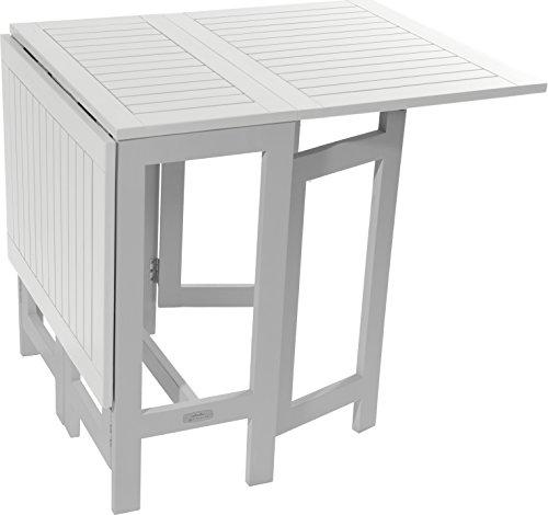Green City CGBUR22-Consola mesa de madera de Acacia, blanco, 135 x 65 x 74 cm