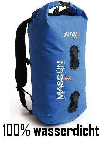 Fahrradrucksack 100% wasserdicht Rucksack MASCUN 20 Liter blau Rollbeutel