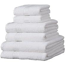 6 toallas de hotel - 100% extraordinario algodón egipcio - Blanco