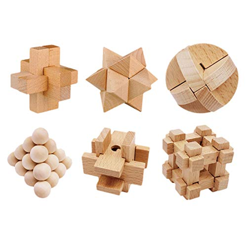 MAJOZ 6 Stück Knobelspiele aus Holz , IQ Puzzle 3D Holzpuzzle Set, Geduldspiele Rätselspiele Geschicklichkeitsspiele für Erwachsene Kinder