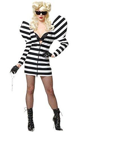 DLucc Halloween schwarz-weiß gestreiften langärmeligen Kleid weibliche Häftlinge Cosplay Cosplay Sänger Kleidung