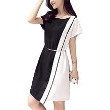 Huateng Vestidos de mujer color blanco y negro, oficina Vestidos delgados