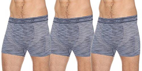 BRUBECK® BX10780 3x SET FUSION BOXER SHORTS HERREN | Nahtlos | 2-Schichtgewebe | Schnell trocknend Blue Jeans