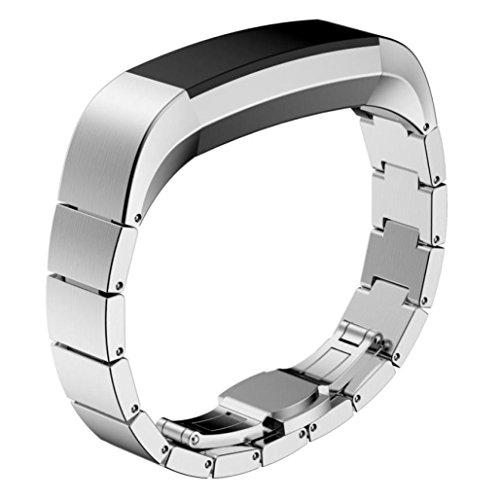 Fitbit Alta Bands, lanowo Edelstahl Watch Band Wrist Strap Armband für Fitbit Alta HR Smart Watch, silberfarben